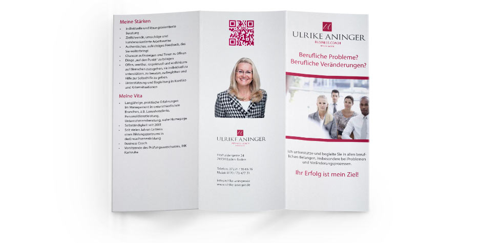 Flyer für Business Coach Ulrike Aninger NK IT Service Rastatt
